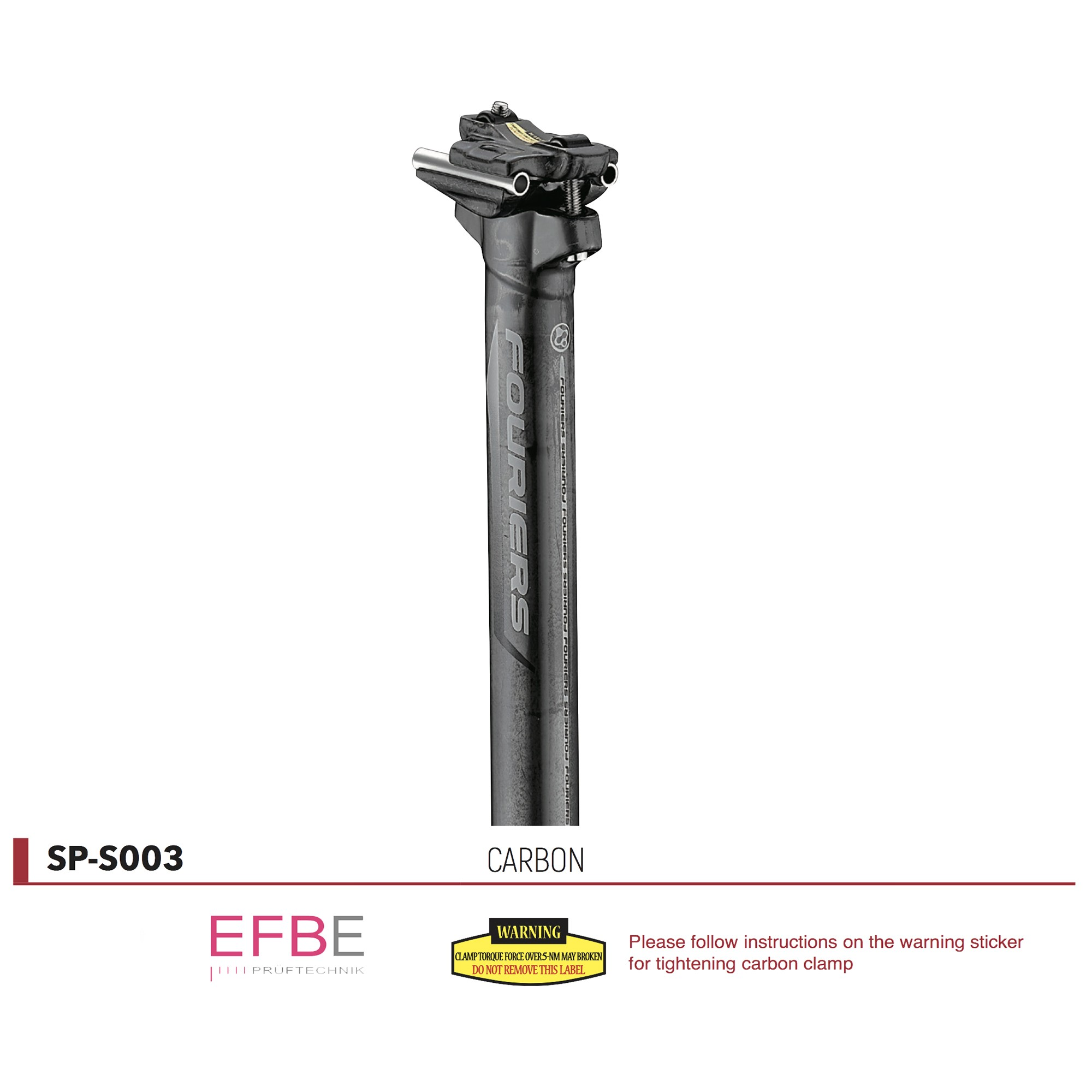 Tige de selle Carbone Fouriers Ø27.2-30.9-31.6 recul 0mm
