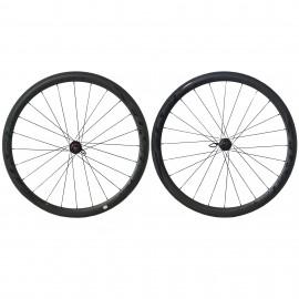 Paire de roues carbone boyaux-roulement céramique Flashwheels