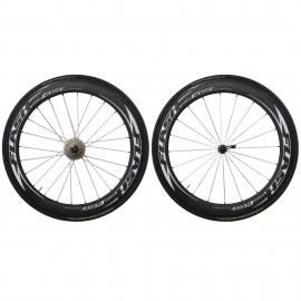 Paire de roues carbone boyaux C60 Flashwheels
