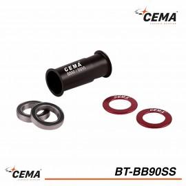 Boitier de pedalier BB90-BB95 Inox CEMA SCR-BT-BB90SS pour Shimano