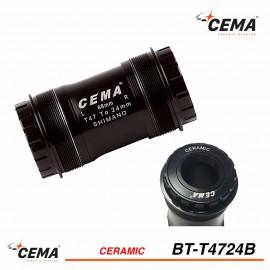 Boitier de pédalier T47 céramique CEMA BT-T4724B pour Shimano 24mm