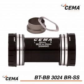 Boitier de pédalier inox BB30 pour SRAM GXP - CEMA BT-BB3024BR-SS