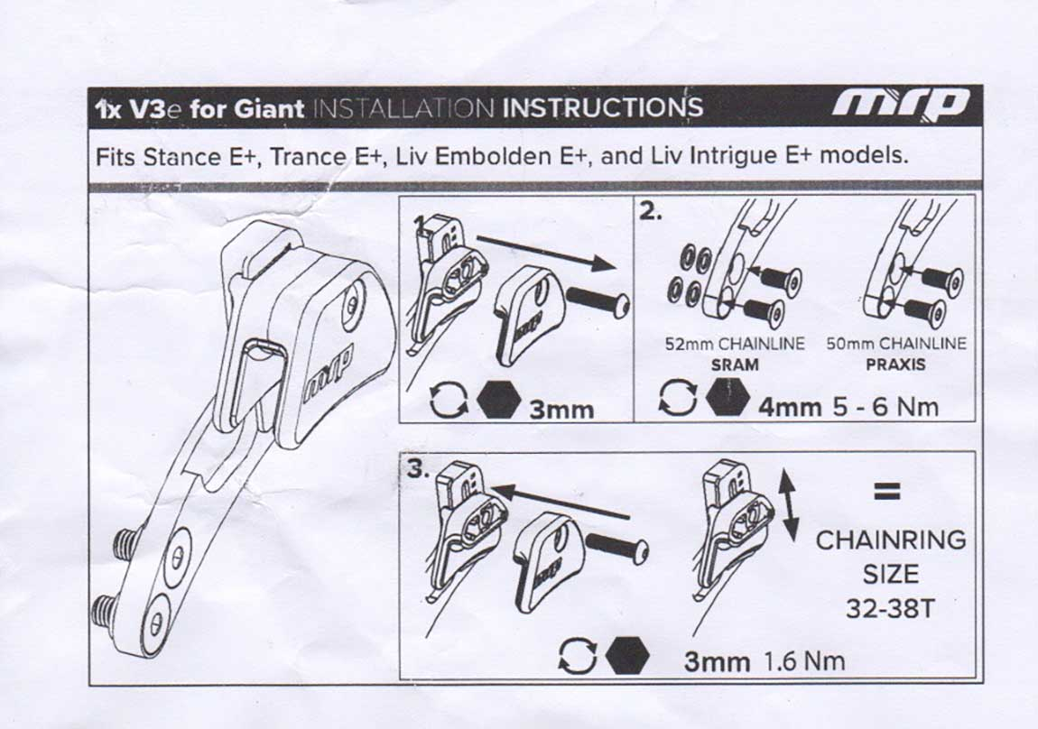 notice de montage du guide chaine VTT Giant 240000008