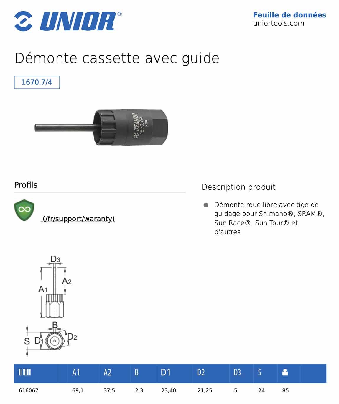fiche démonte cassette UNIOR 1670.7/4 avec guide