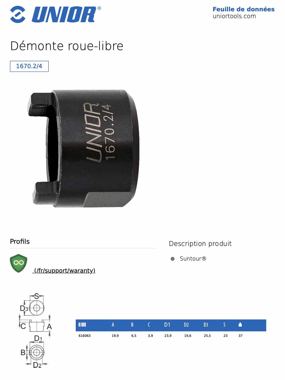 fiche démonte roue-libre suntour UNIOR1670.2/4