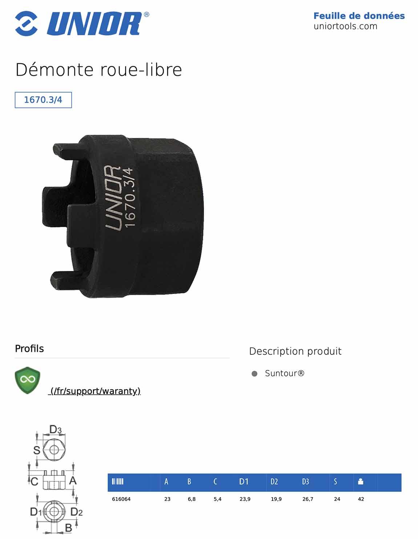 Démonte roue-libre Suntour UNIOR 1670.3/4