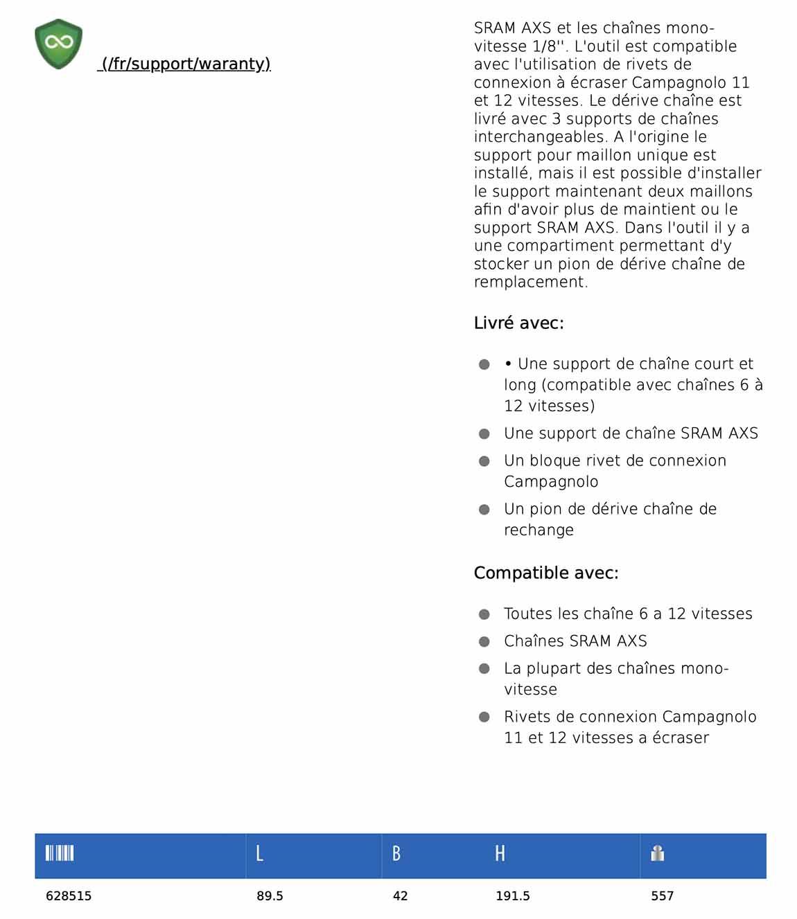 description dérivé chaine UNIOR professionnel 1647/2BBI