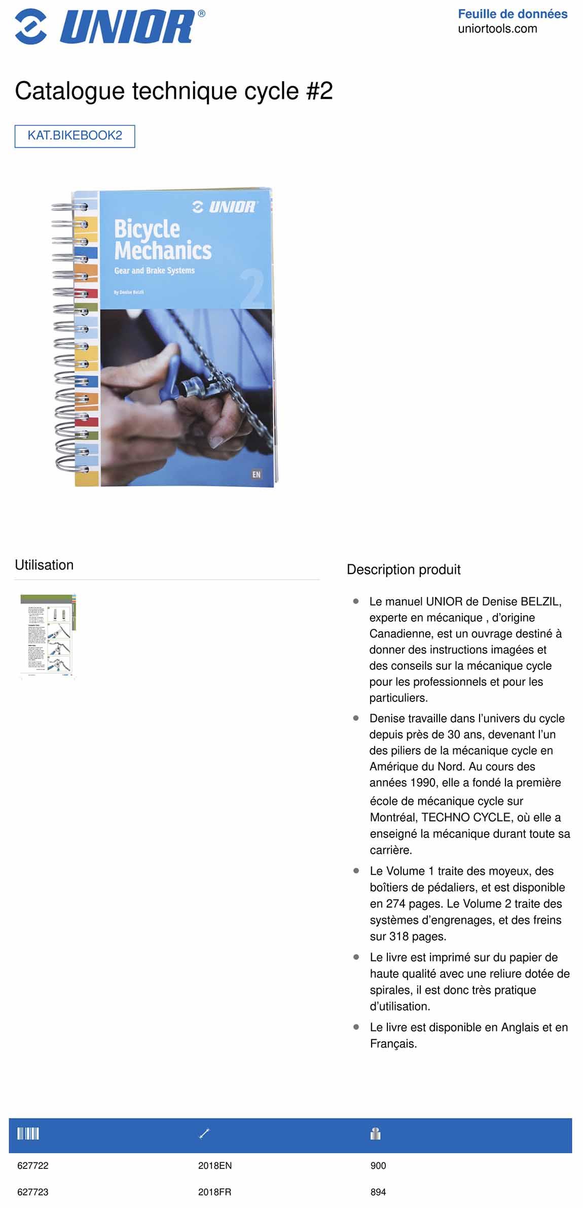 manuel de mécanique vélo UNIOR tome 2