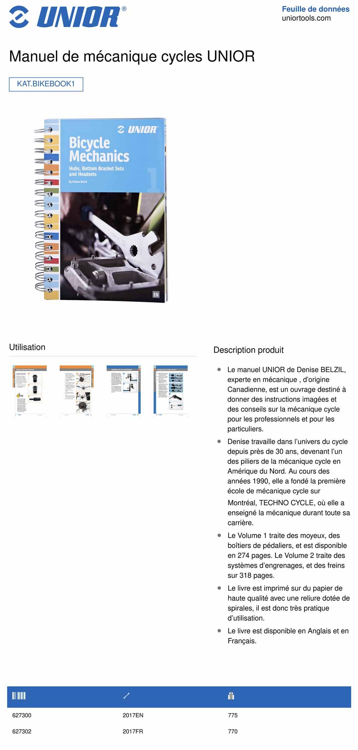 manuel de mécanique vélo UNIOR tome 1
