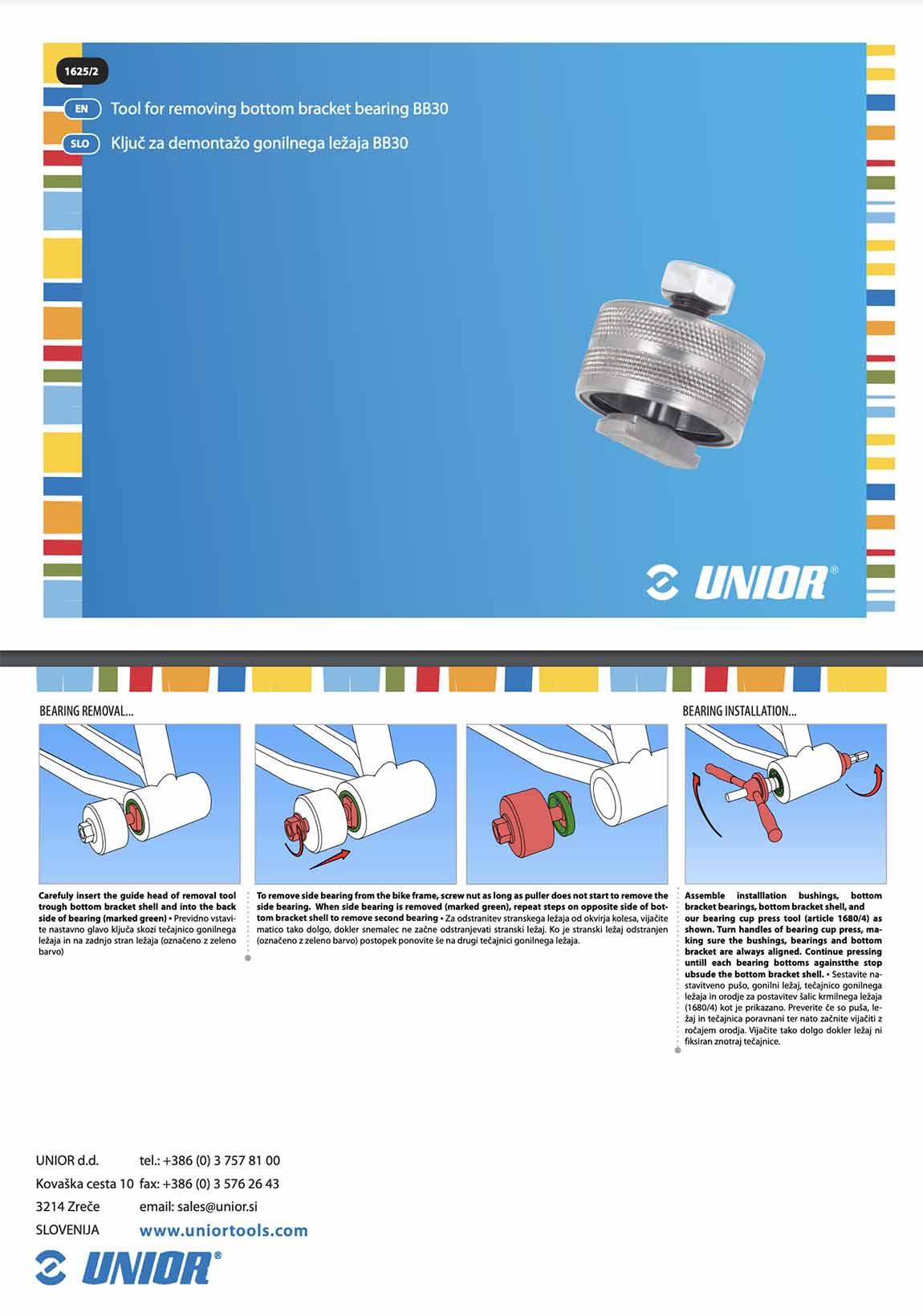 information sur l'outil Unior bb30
