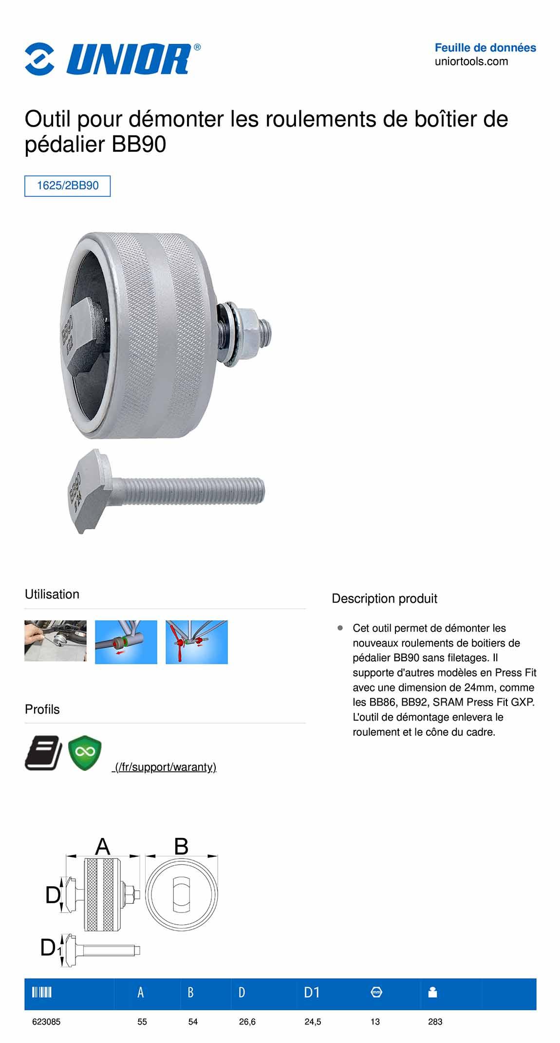 information sur l'outils UNIOR démonte boitier de pédalier BB90