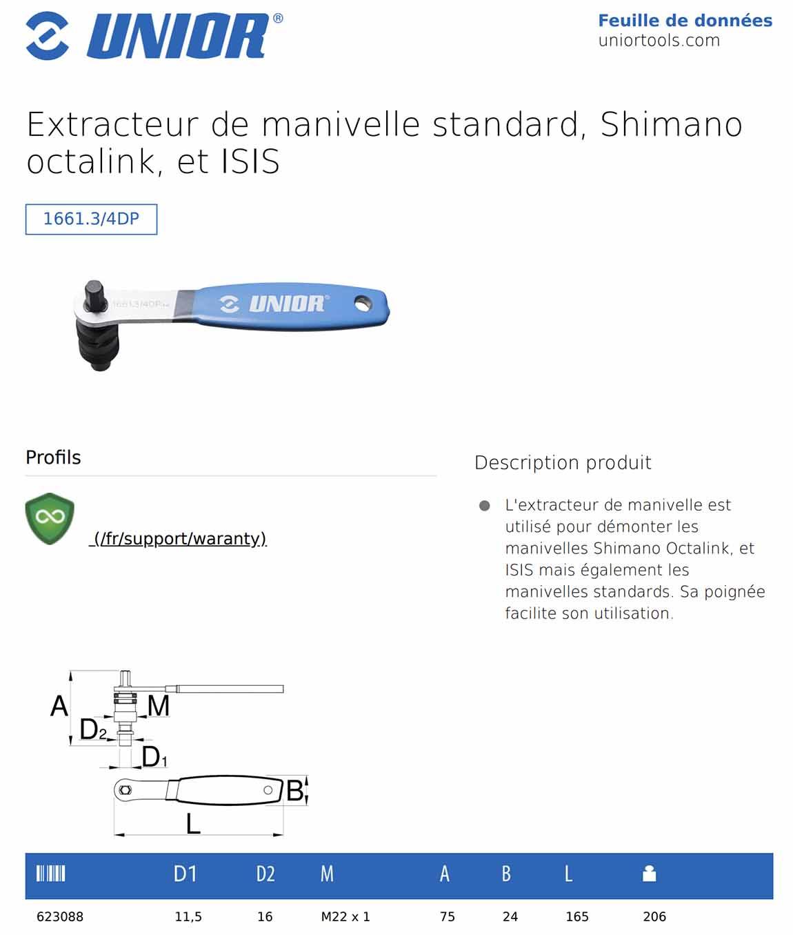 extracteur de manivelle UNIOR avec poignée
