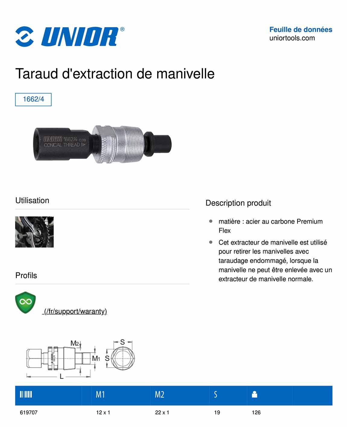 outils de démontage de manivelle UNIOR 1662/4