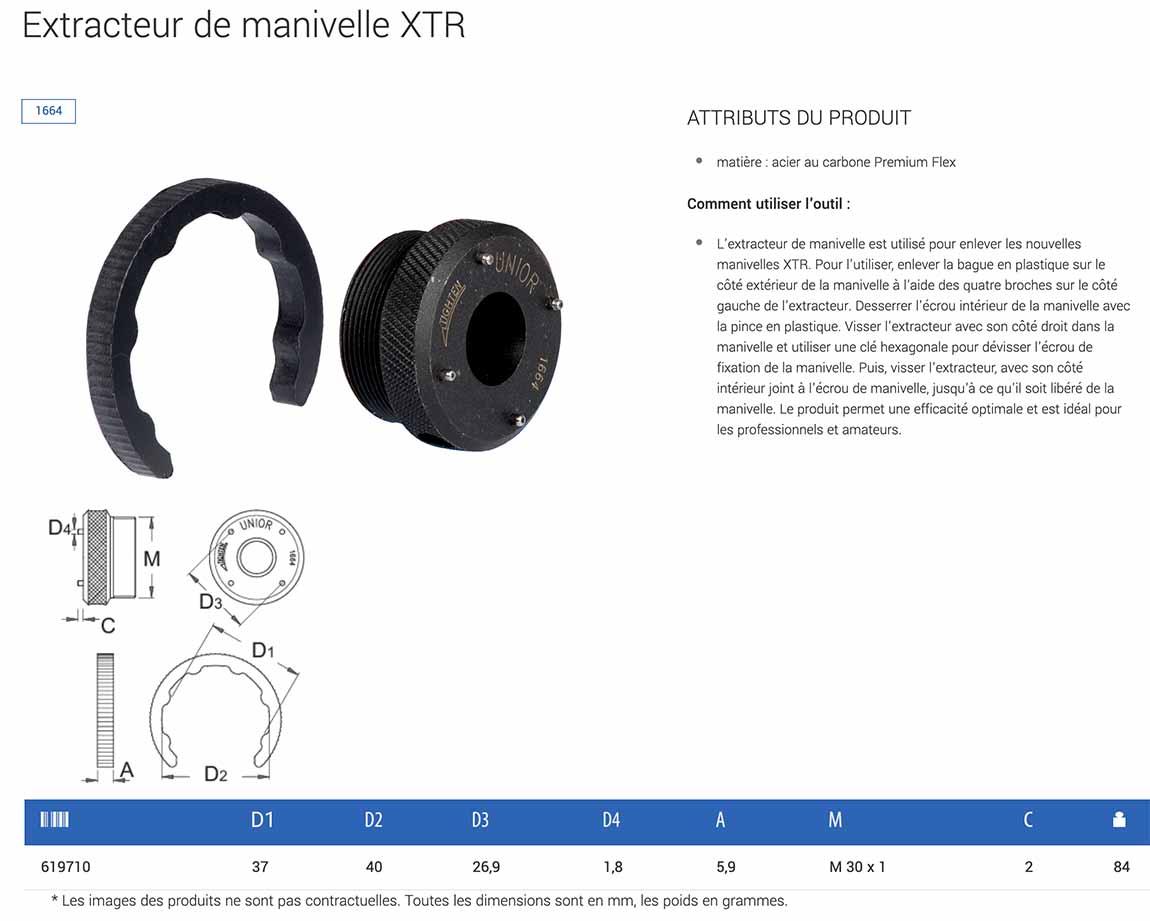 Outils UNIOR - Extracteur de manivelle Shimano XTR