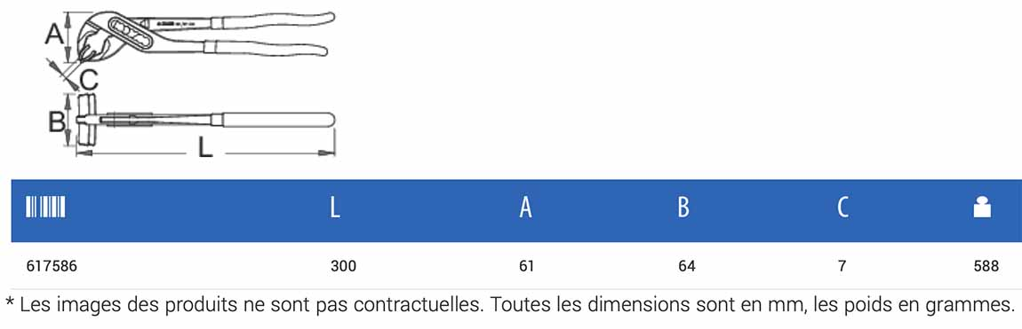 dimensions de la pince centreur de pneu UNIOR 1601/2DP