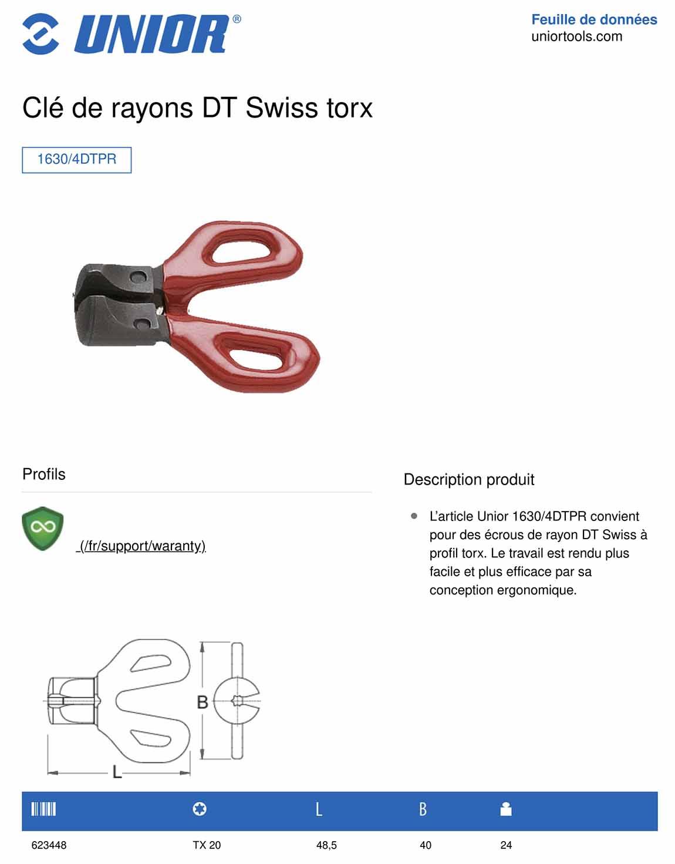caractéristiques clé à rayon DT SWISS Torx UNIOR