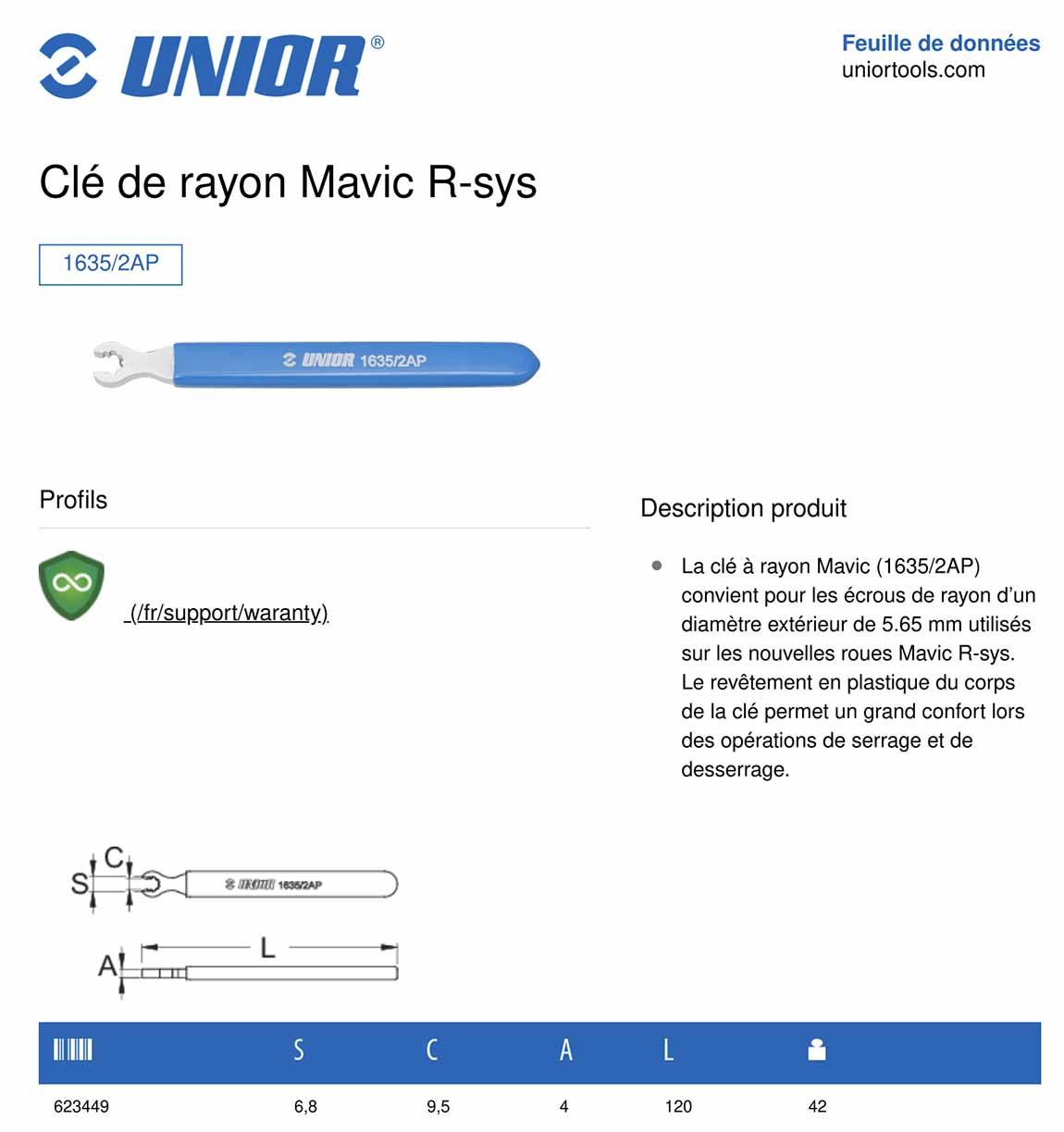 caractéristiques clé à rayon maris r-sys Unior 1635/2ap