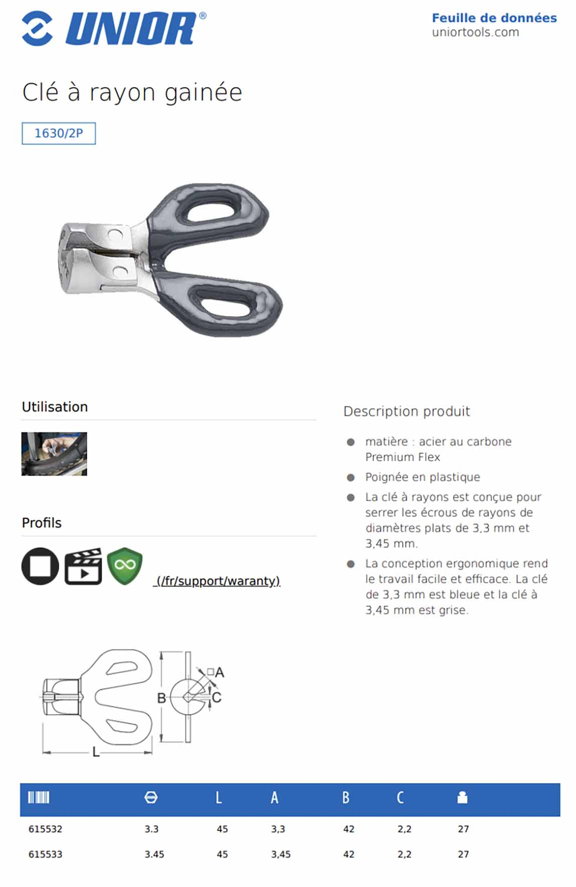 tension de rayon de velo clé Unior 1630/2P