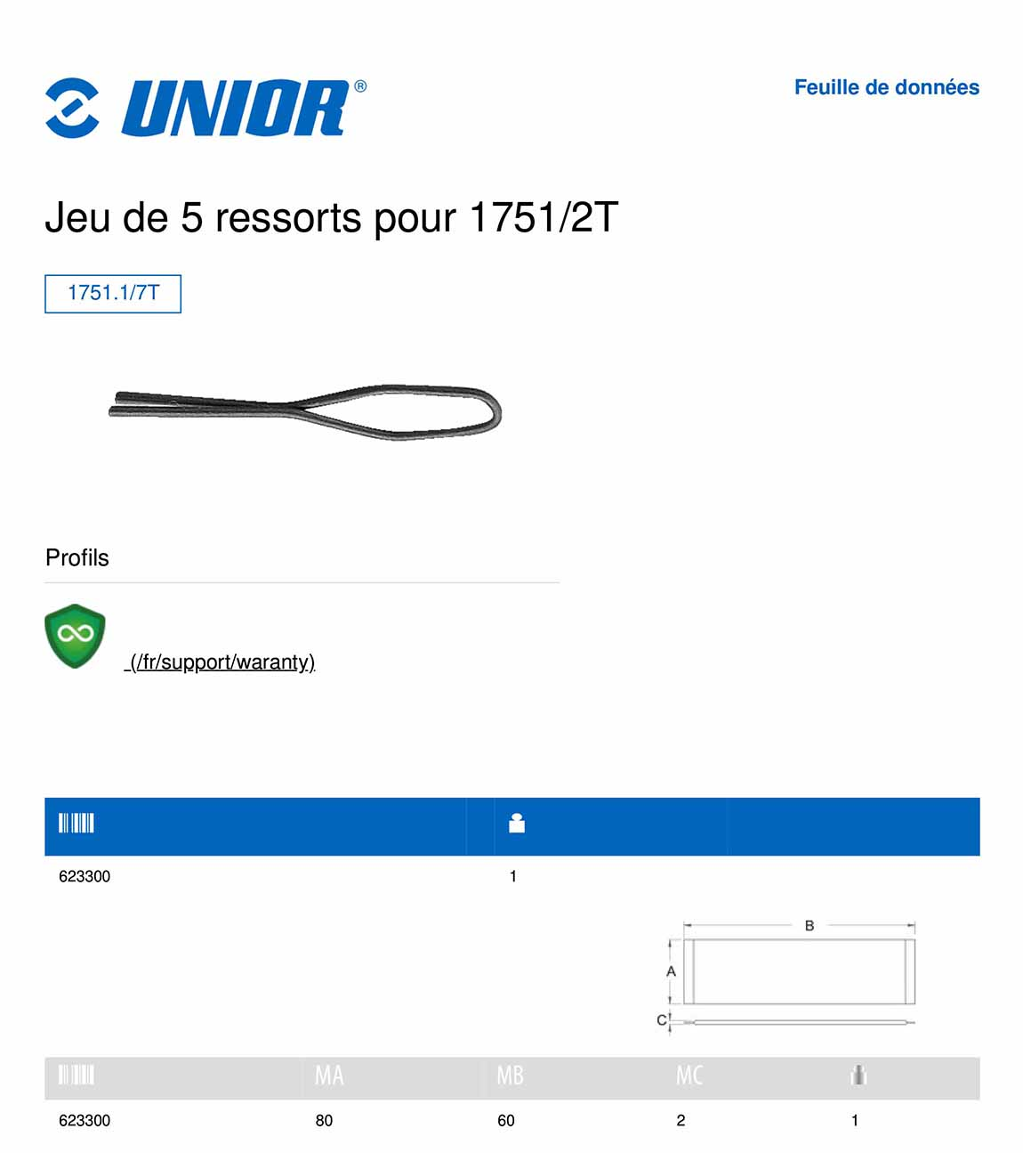 fiche technique du lot de 5 ressorts de la clé à rayon unior 1751/2T