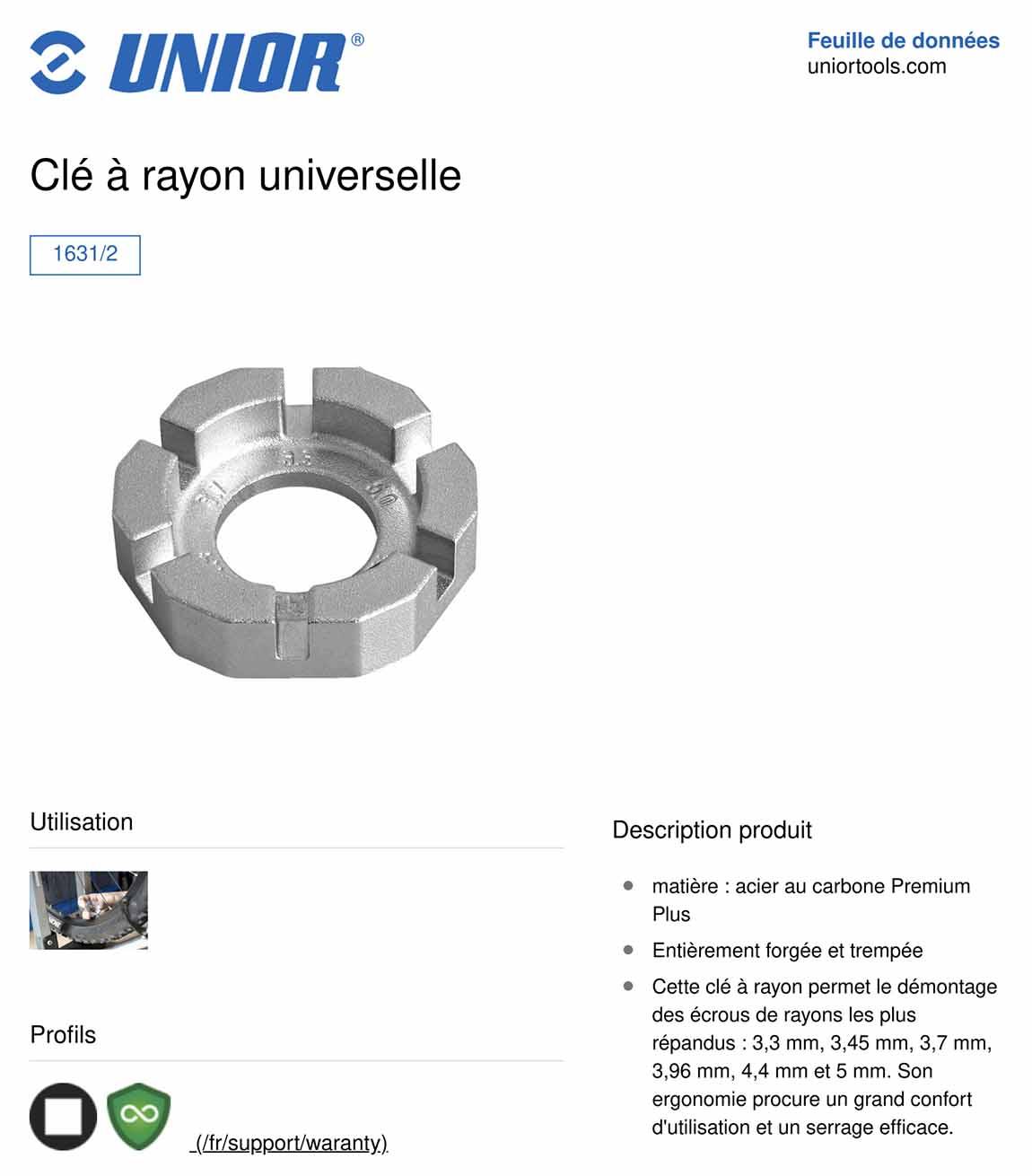 caractéristiques clé à rayon universelle Unior