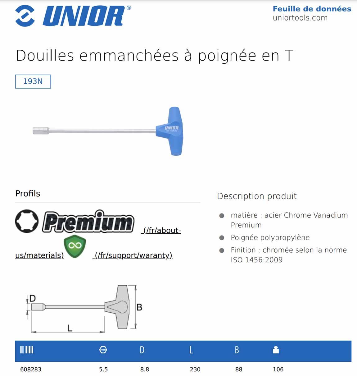 description clé à emmancher en T Unior 193N
