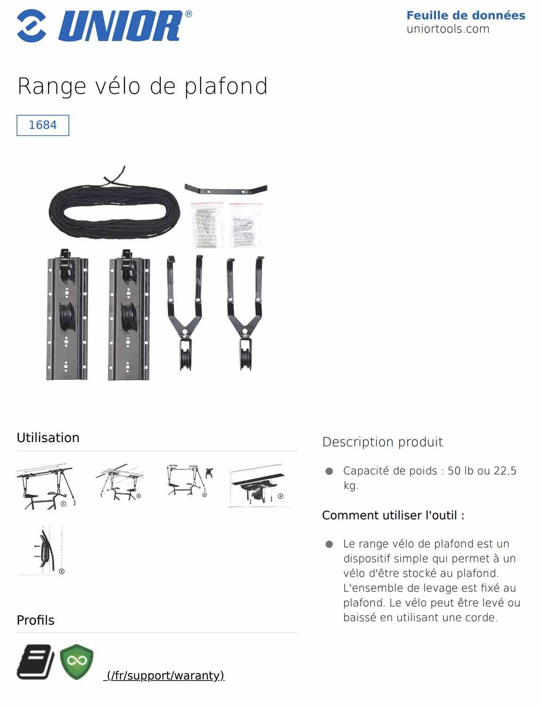 fiche stockage de vélo au plafond UNIOR 1684