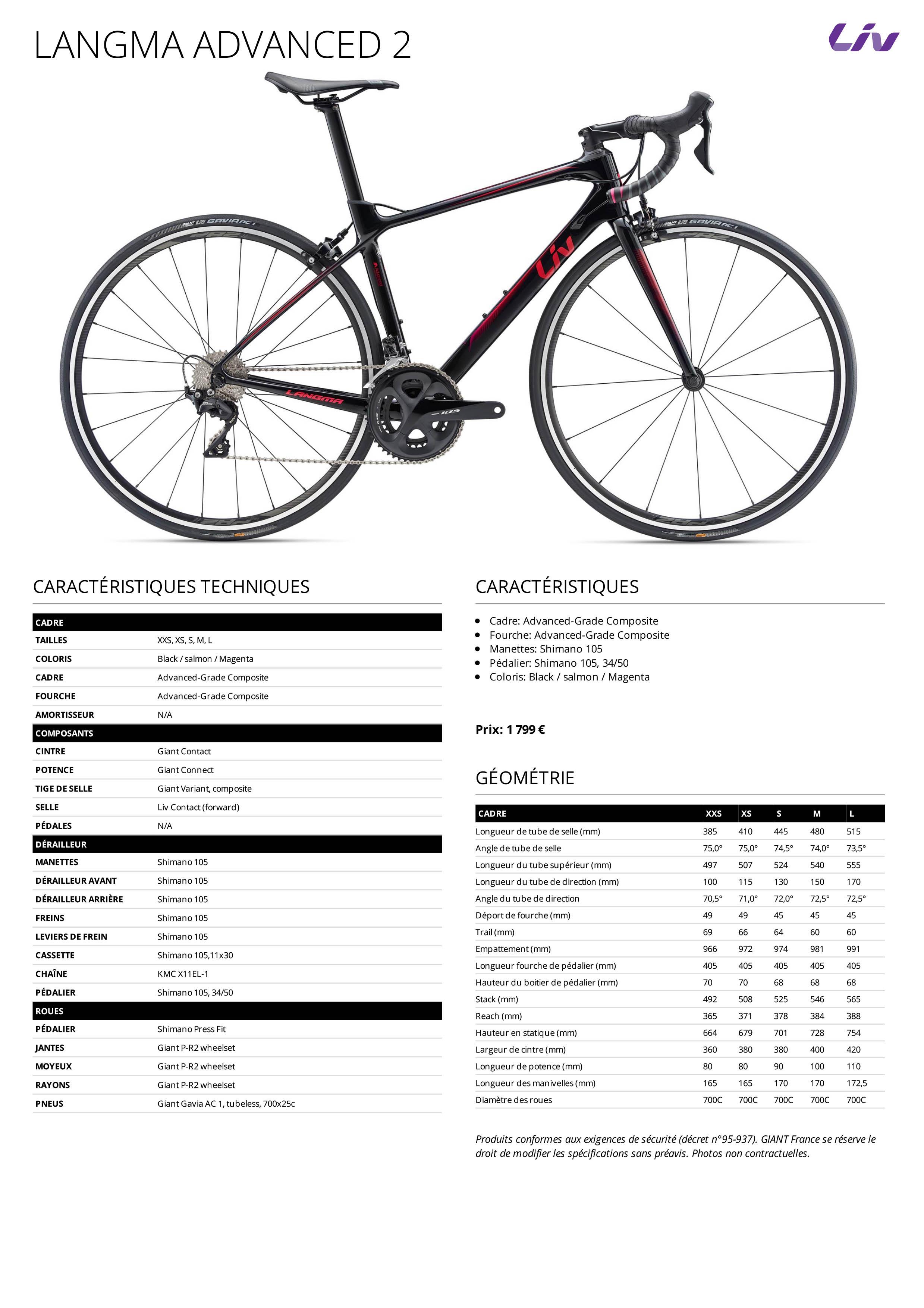 Fiche des caractéristiques techniques du vélo de route femme Liv Langma advanced 2 2019