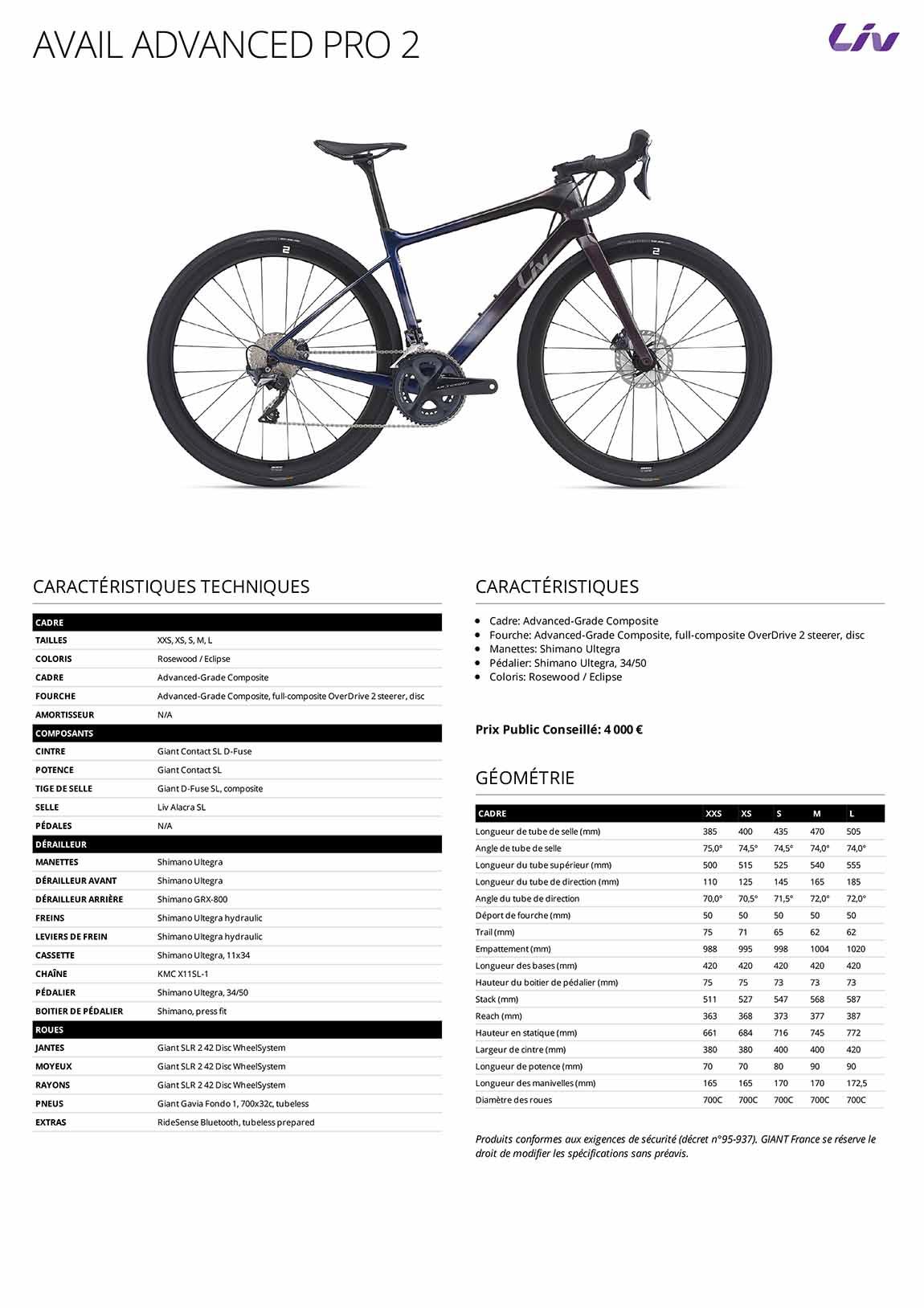 Caractéristiques techniques Vélo femme LIV Avail Advanced Pro 2 2021