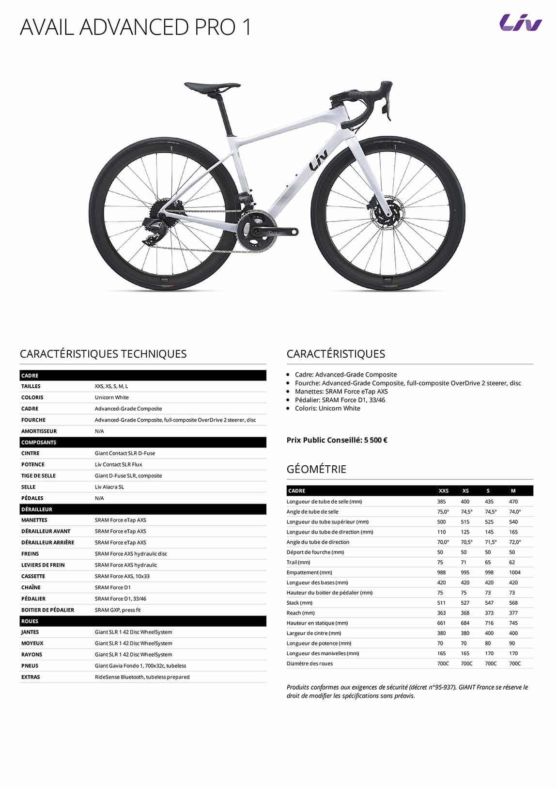 Caractéristiques techniques Vélo femme LIV Avail Advanced Pro 1 2021