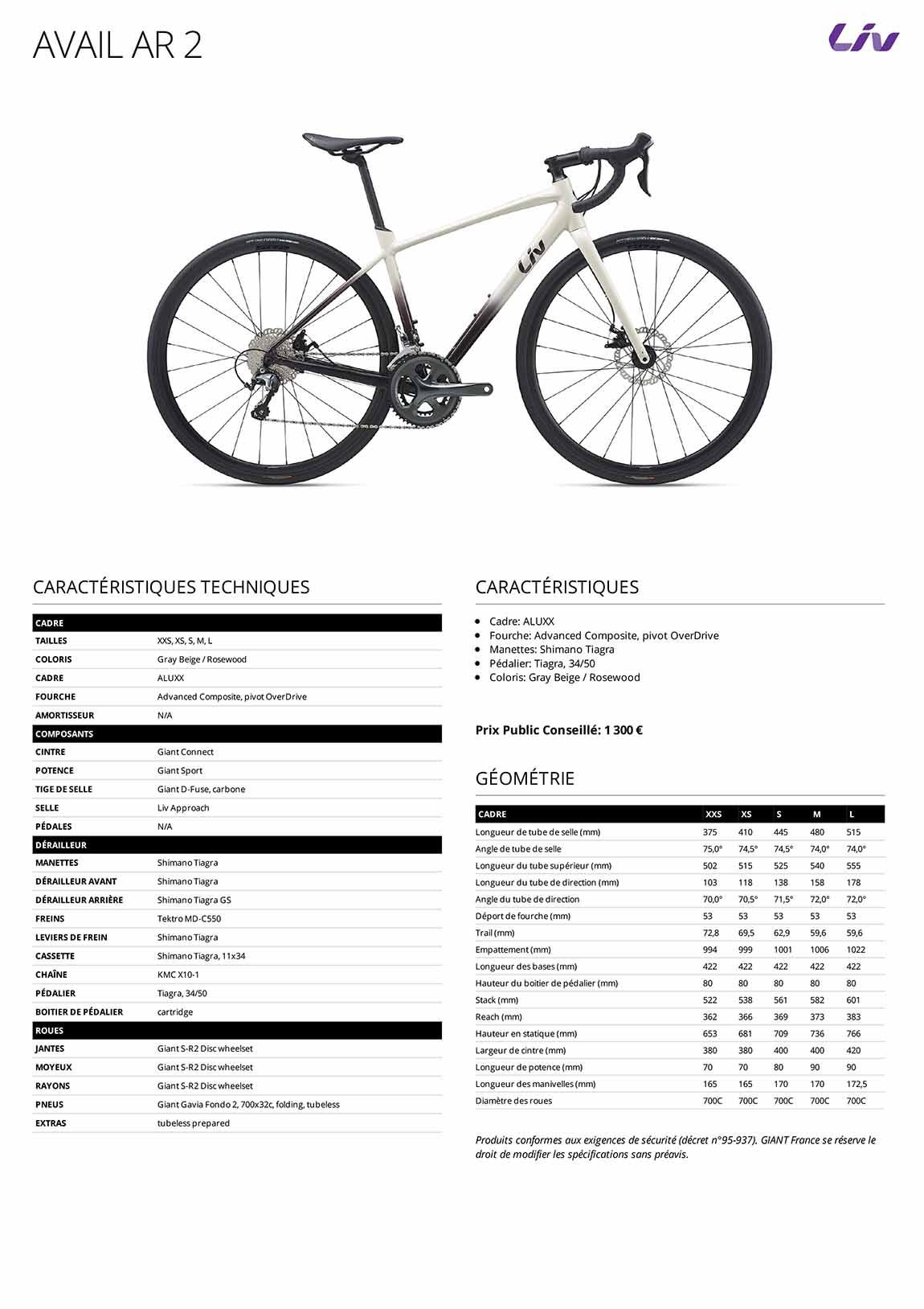 Caractéristiques Vélo femme LIV Avail Advanced 3 2021
