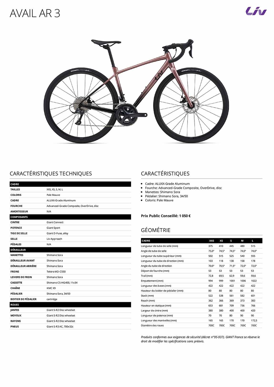 Caractéristiques Vélo femme LIV Avail AR 3 2021
