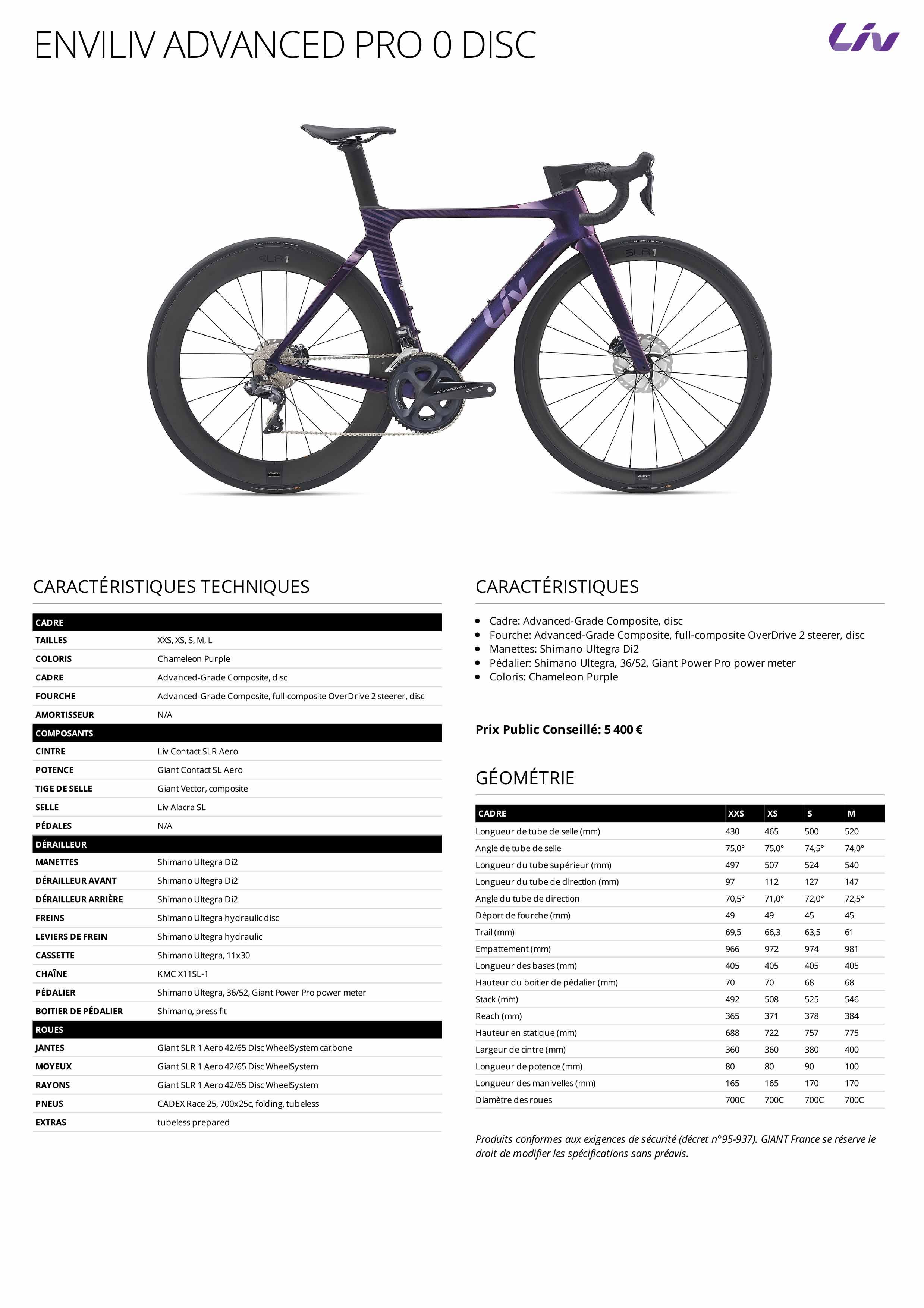 Fiche technique Vélo femme aéro LIV Advanced Pro 0 Disc 2021