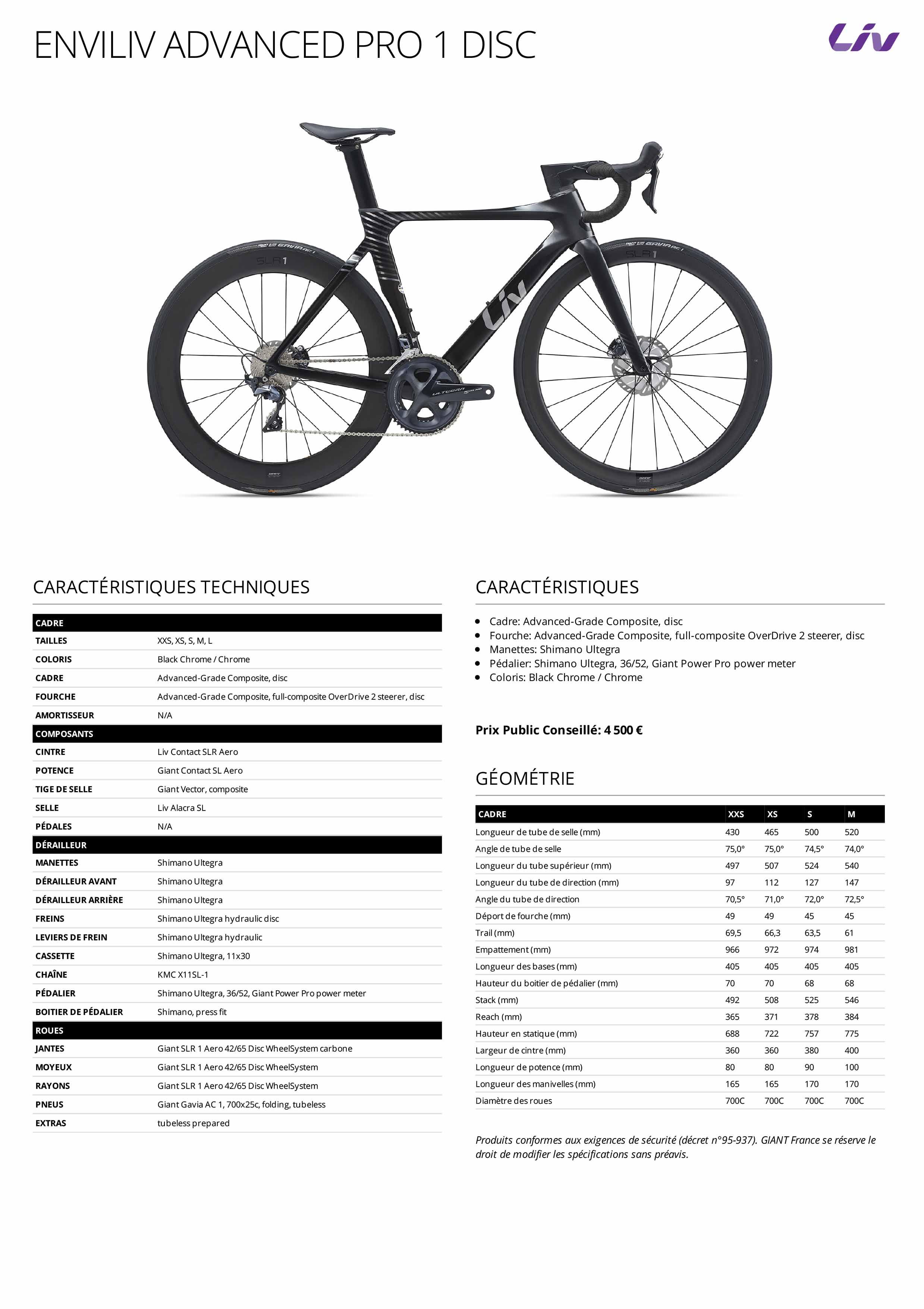 Fiche technique Vélo femme aéro LIV Advanced Pro 1 Disc 2021