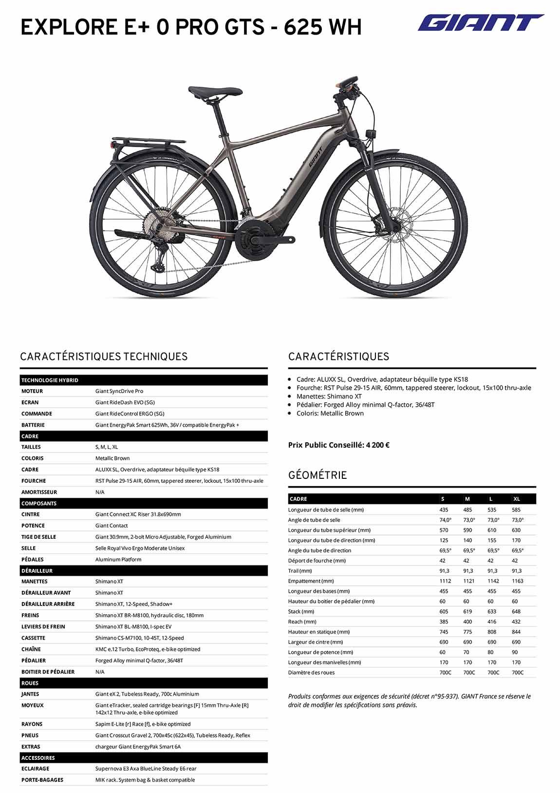 Fiche technique Vélo Giant Explore E+ 0 Pro GTS 2021