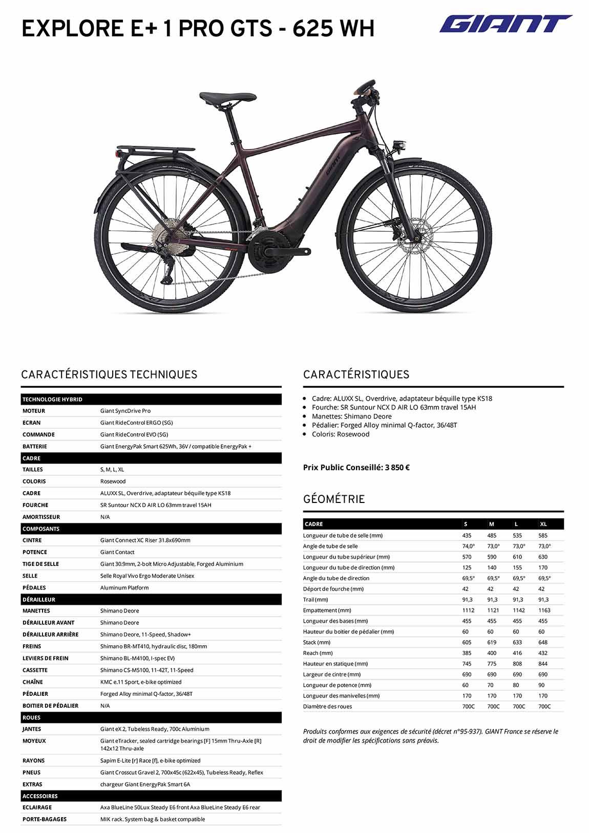 Fiche technique Vélo Giant Explore E+ 1 Pro GTS 2021