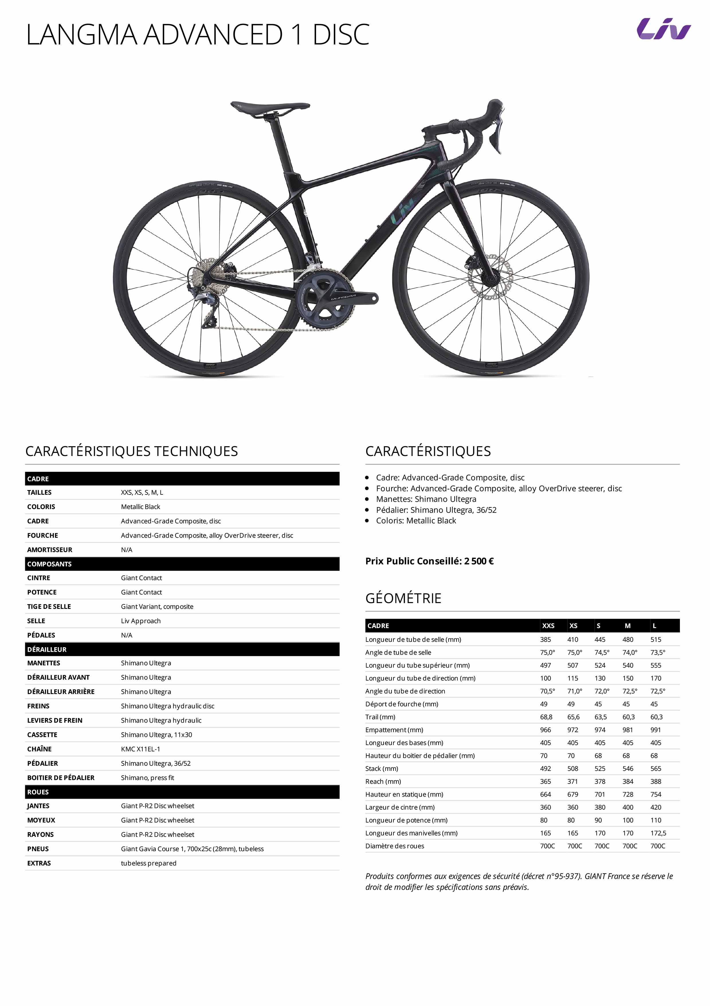 Fiche technique vélo LIV Langma Advanced 1 Disc 2021