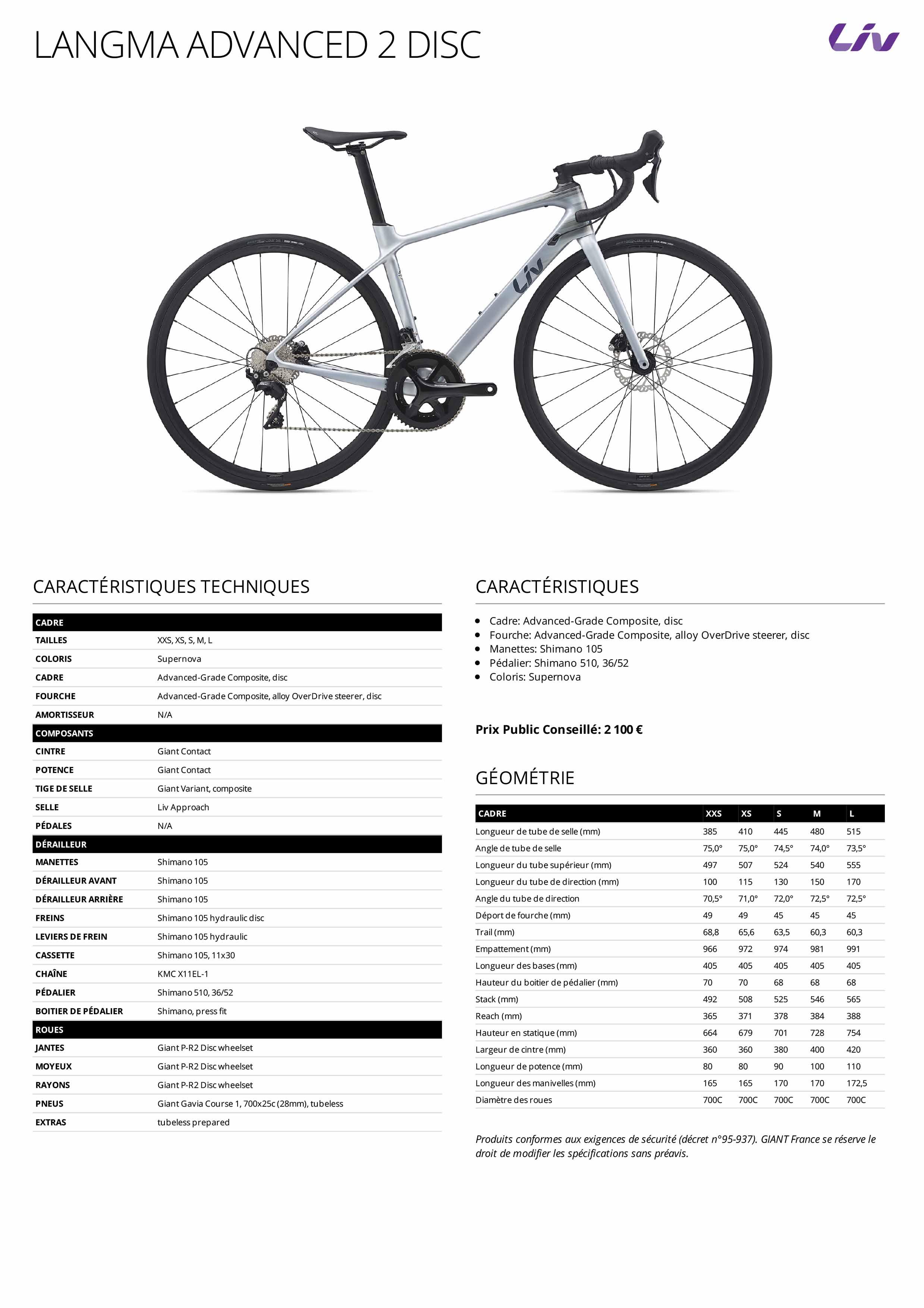Fiche technique vélo LIV Langma Advanced 2 Disc 2021