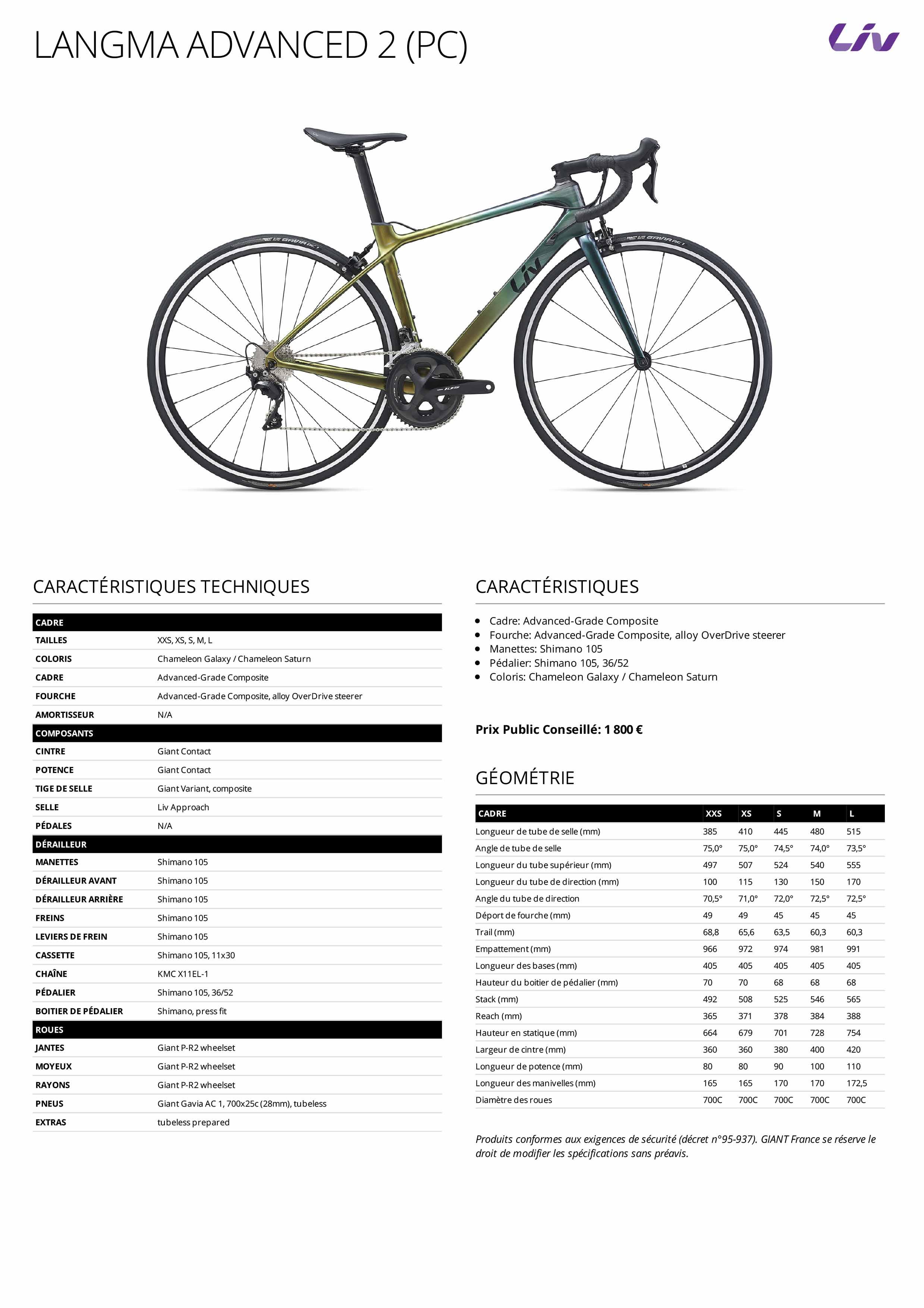 Fiche technique vélo LIV Langma Advanced 2 Pro Compact 2021