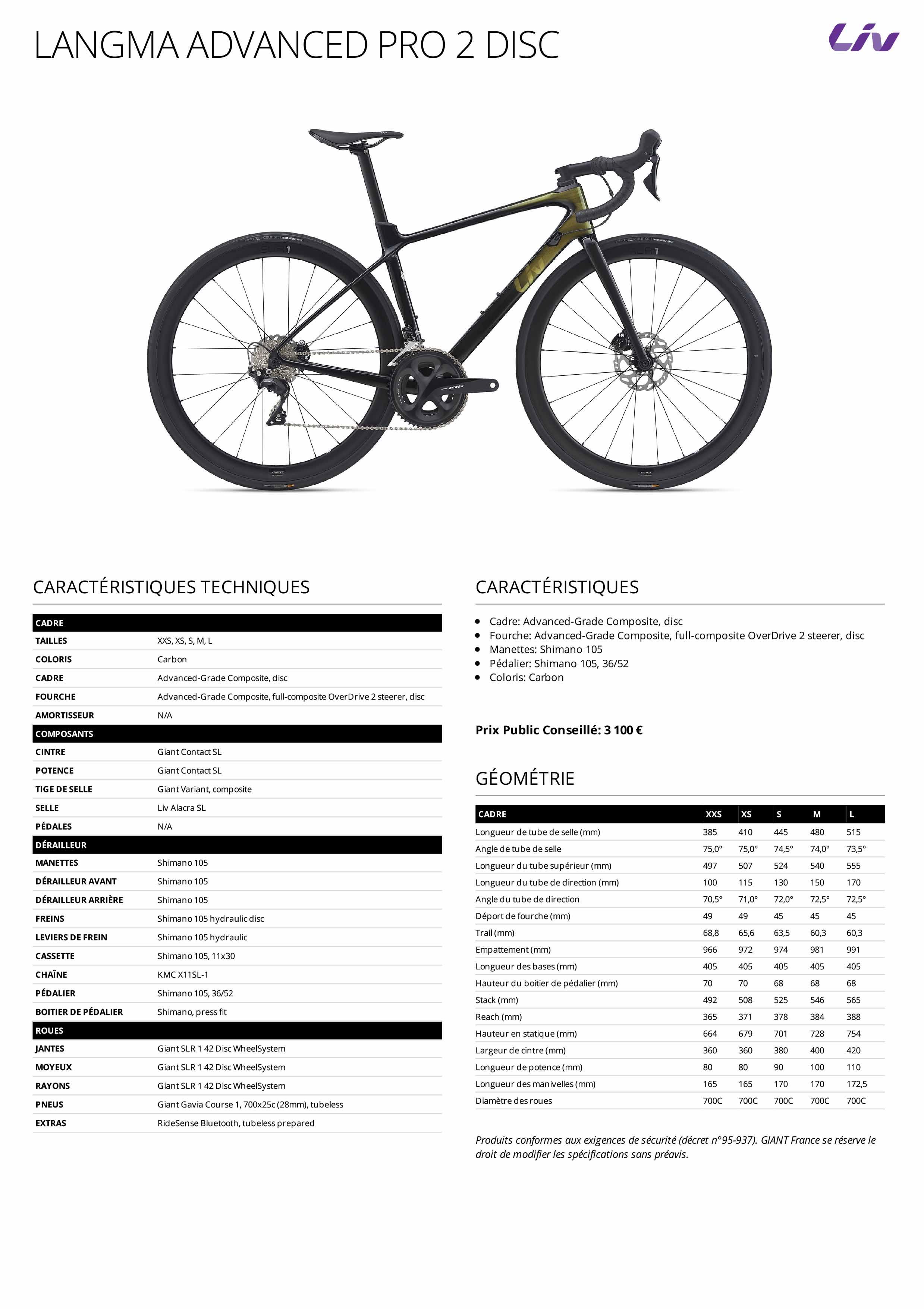 Fiche technique vélo LIV Langma Advanced Pro 2 Disc 2021
