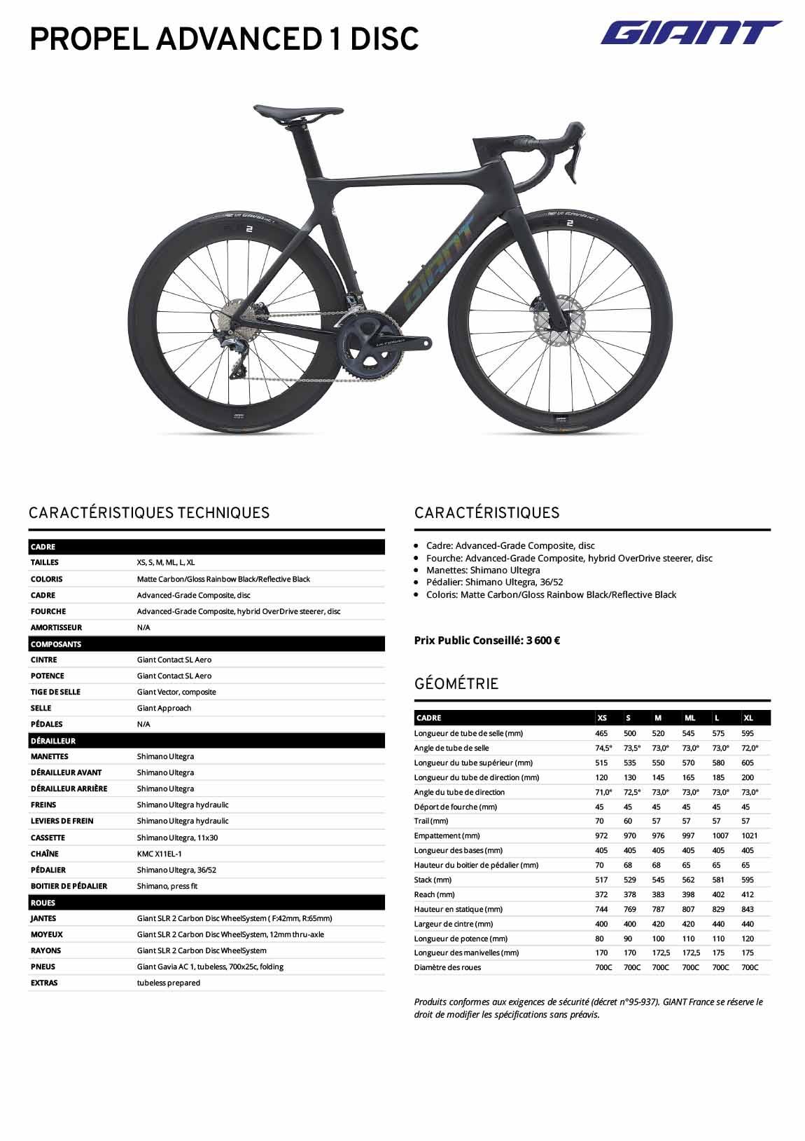 Fiche technique vélo Giant Propel Advanced 1 Disc 2021