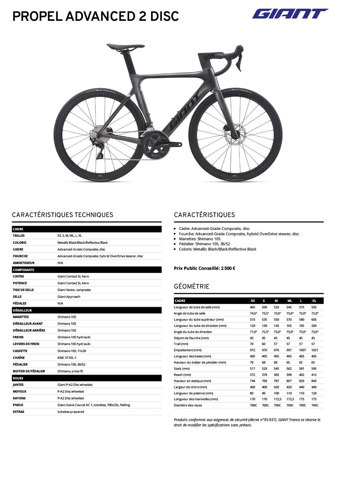 Fiche technique vélo Giant Propel Advanced 2 Disc 2021