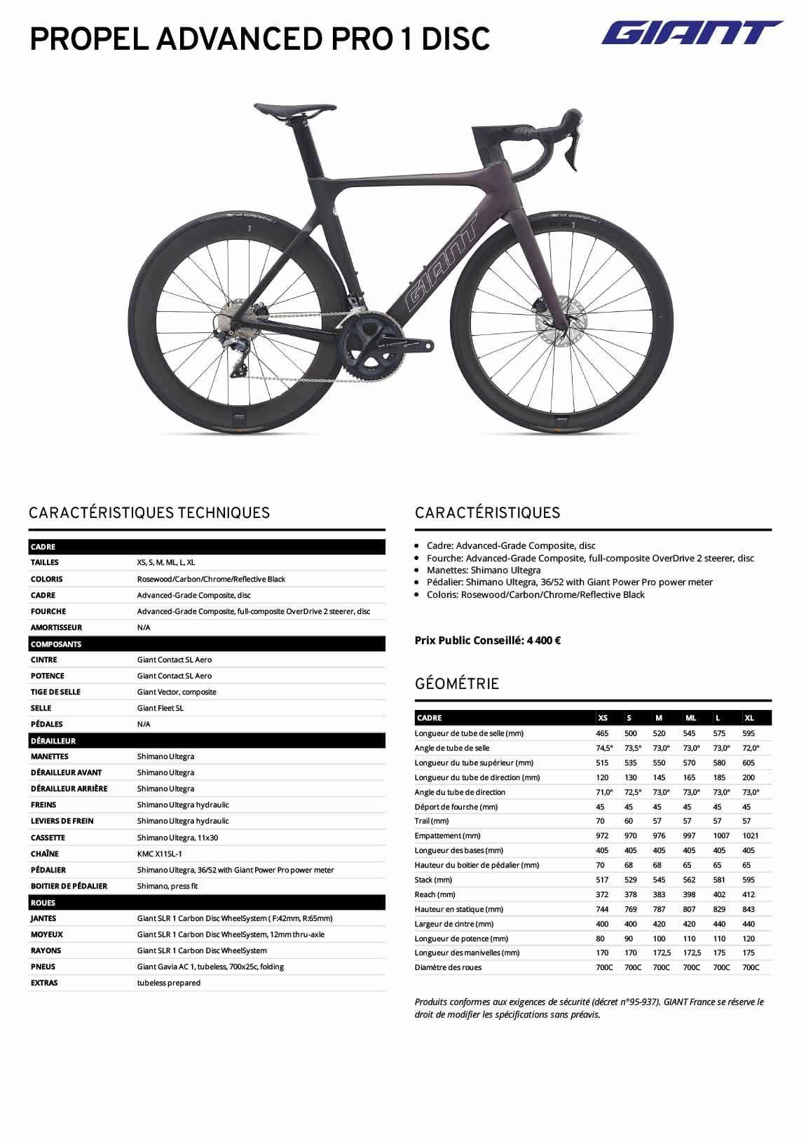 Fiche technique vélo Giant Propel Advanced Pro 1 Disc 2021