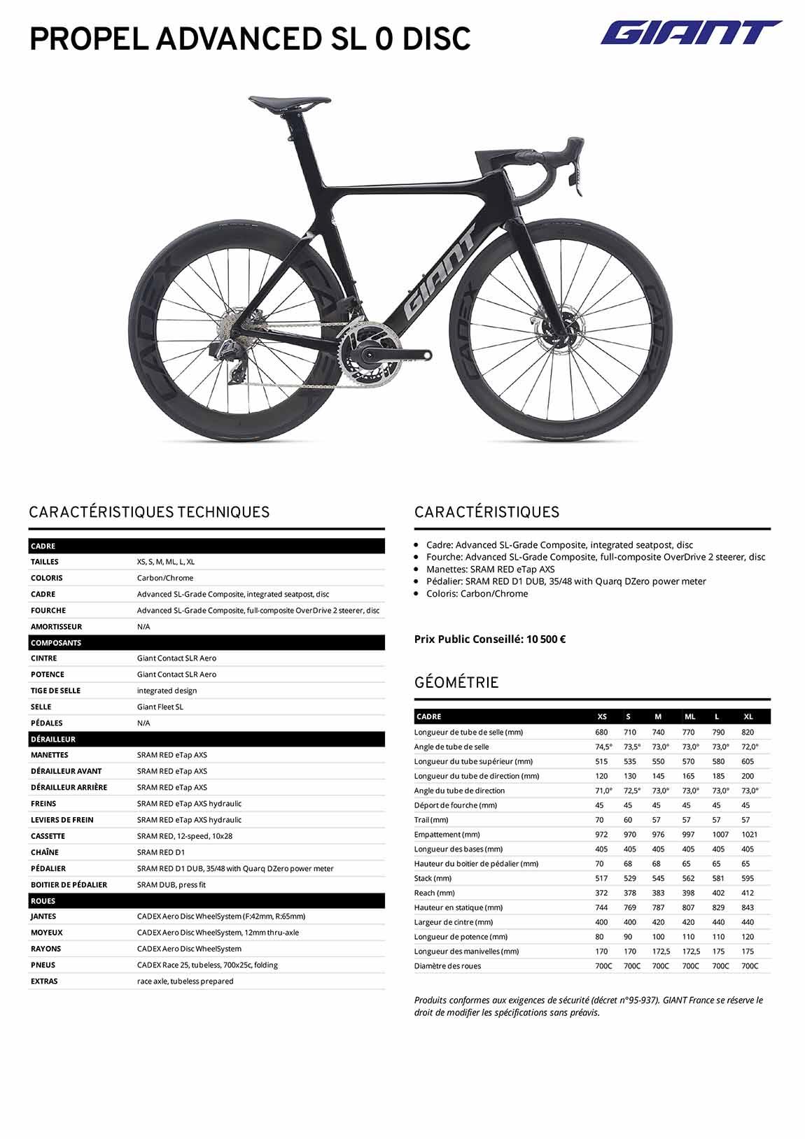 Fiche technique du vélo Giant Propel Advanced SL 0 Disc 2021