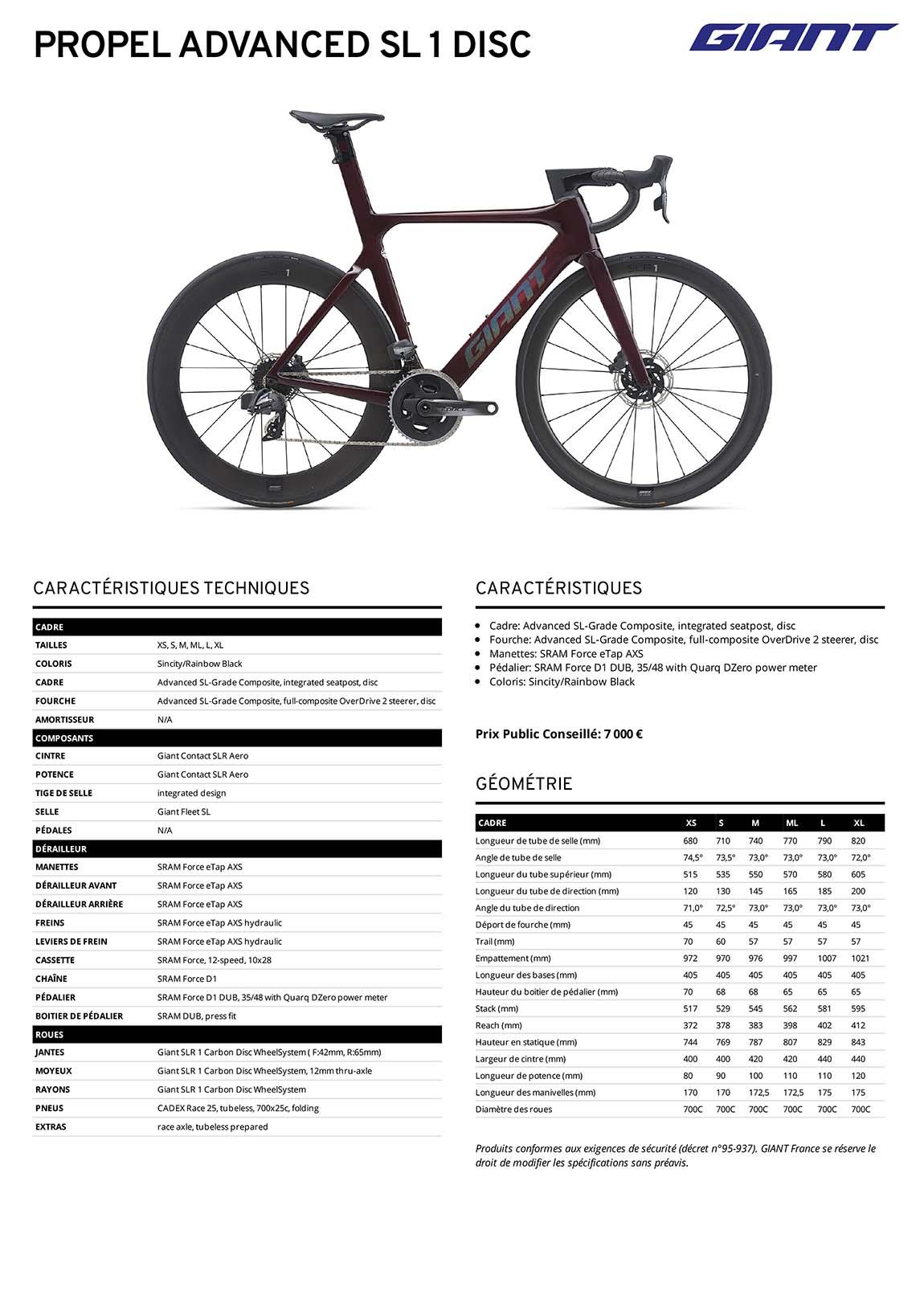 Fiche technique vélo Giant Propel Advanced SL 1 Disc 2021