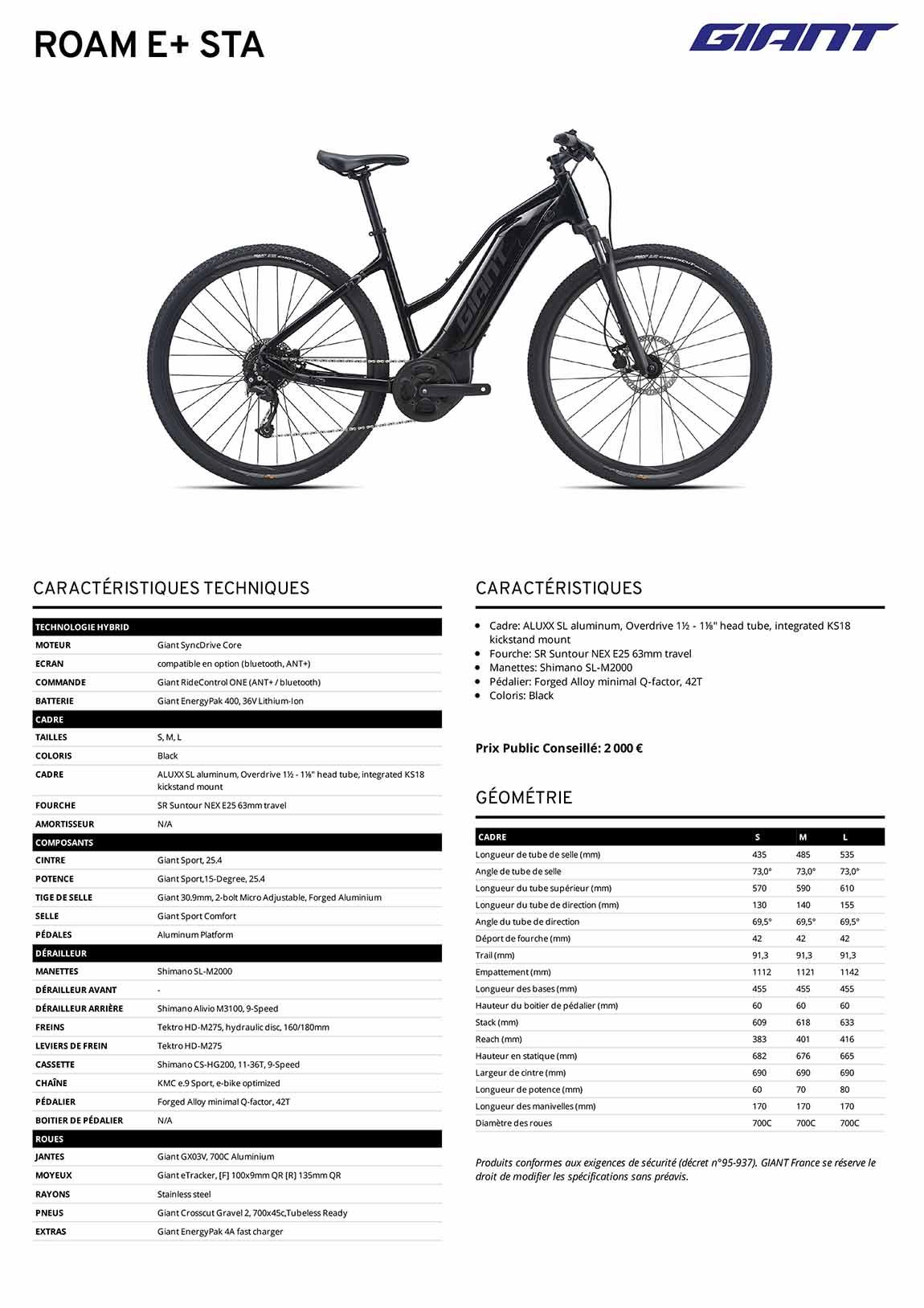 fiche technique vélo VAE Giant Road E+ STA 2021
