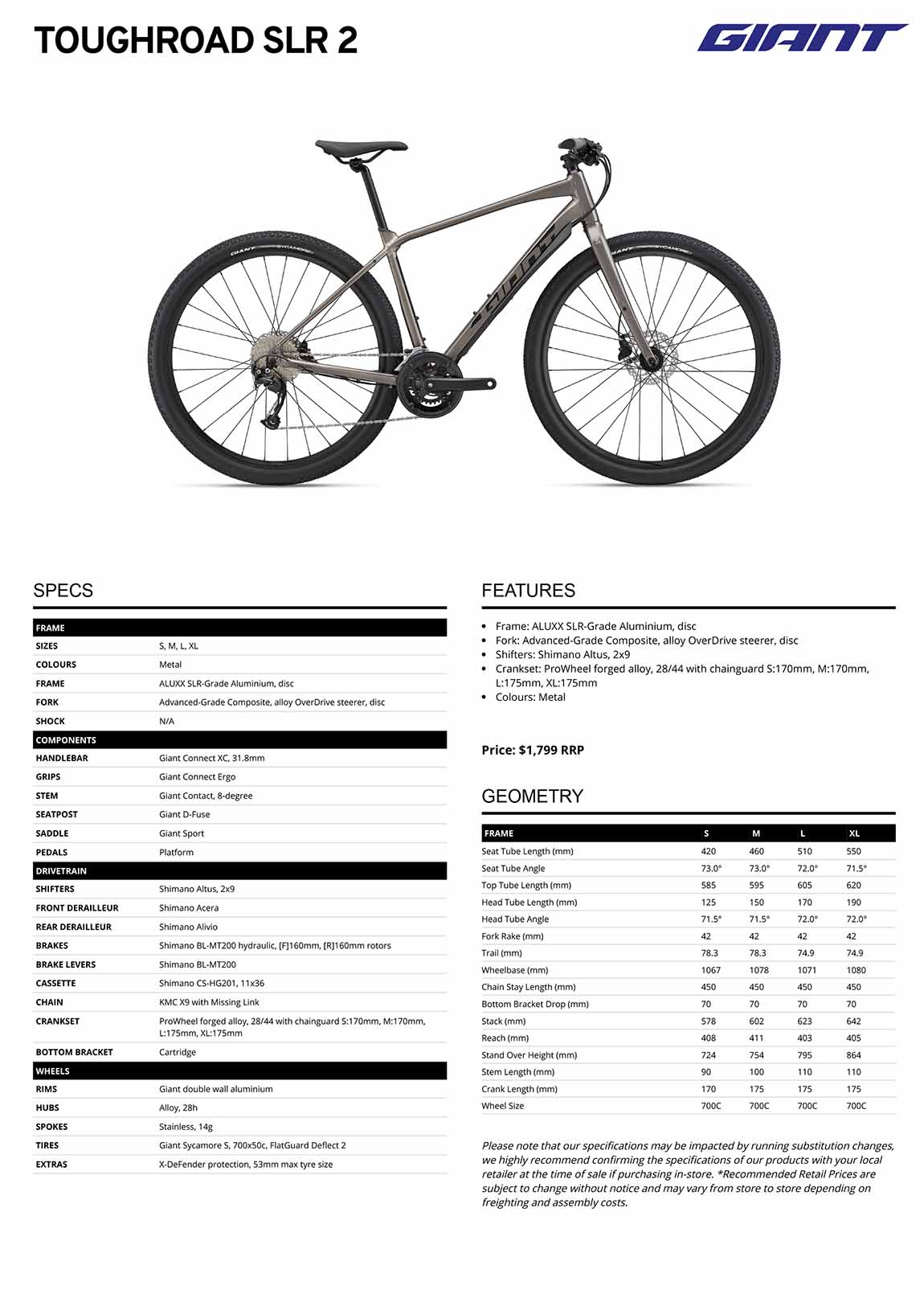 Fiche GIANT ToughRoad SLR 2 2022