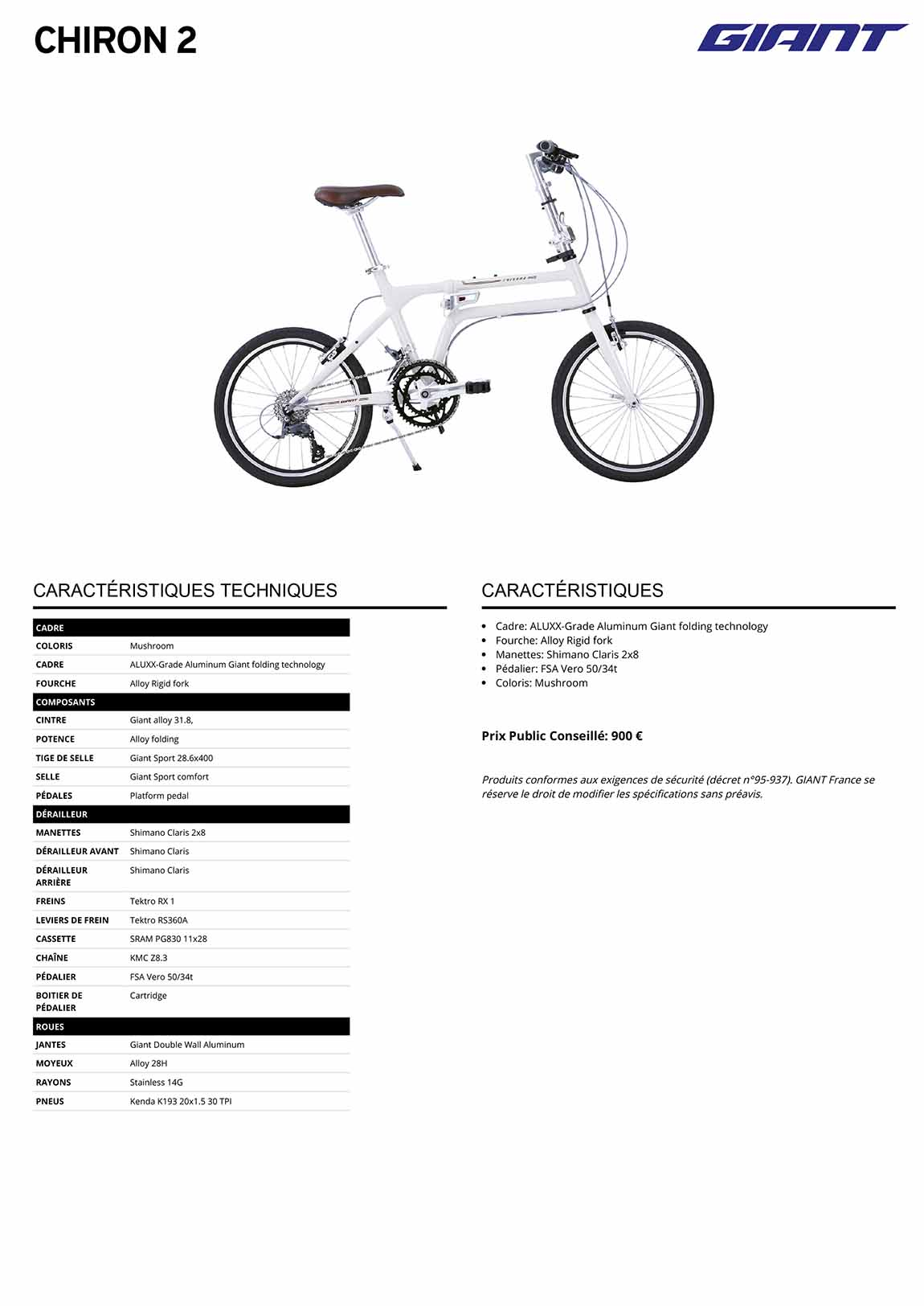 Fiche vélo pliant GIANT Chiron 2022