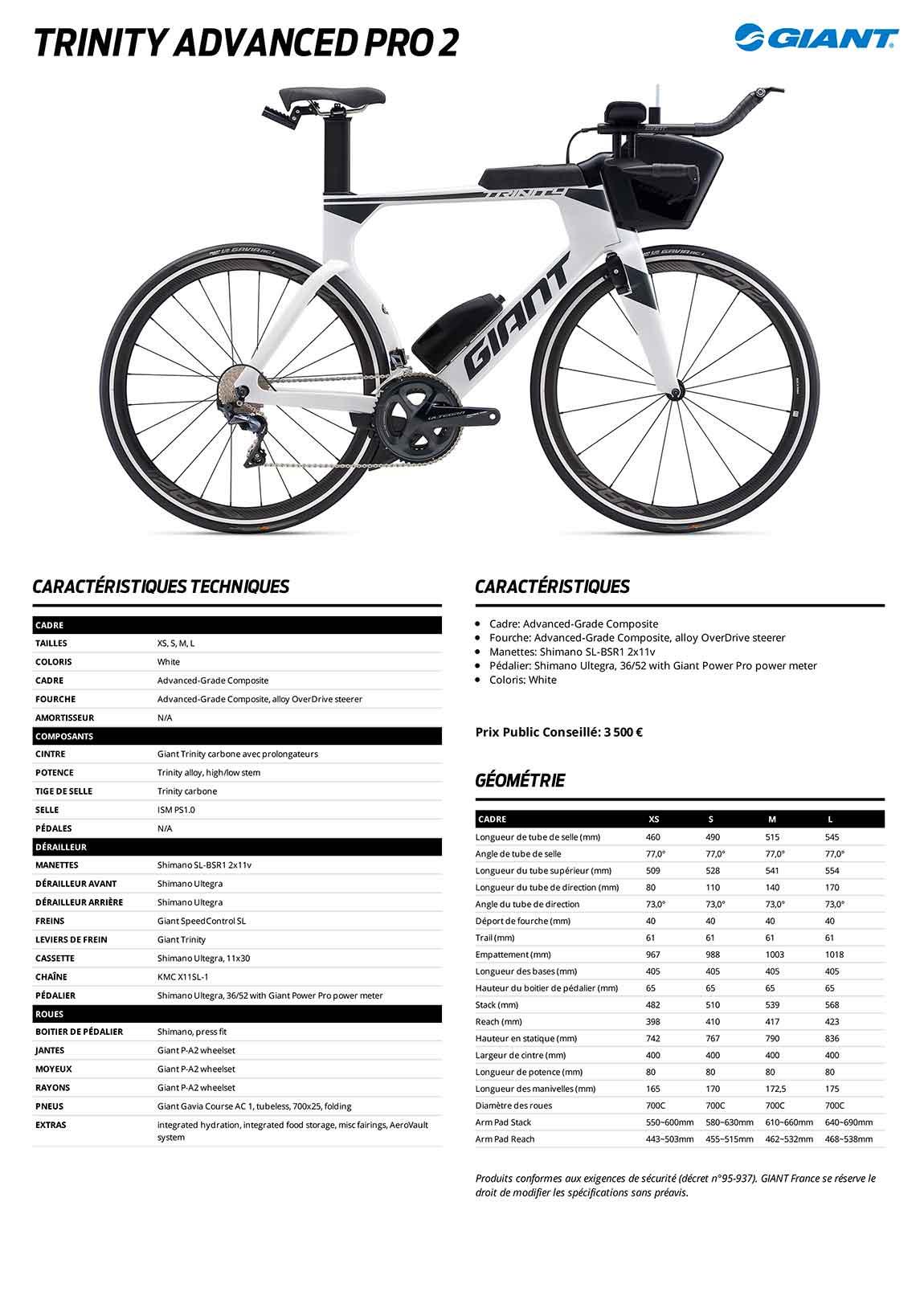 caractéristiques du vélo contre la montre triathlon Giant Trinity Advanced Pro 2 2020